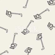 broom doodle seamless pattern background