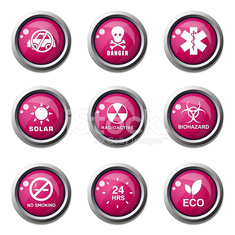 Warning Sign Pink Vector Button Icon Design Set
