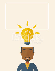 Black businessman with bulb on his head