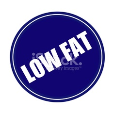 Low fat white stamp text on blue