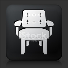 Black Square Button with Chair