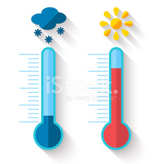 Flat design of Thermometer measuring heat and cold