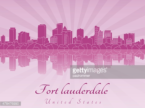 Fort Lauderdale skyline in purple radiant orchid