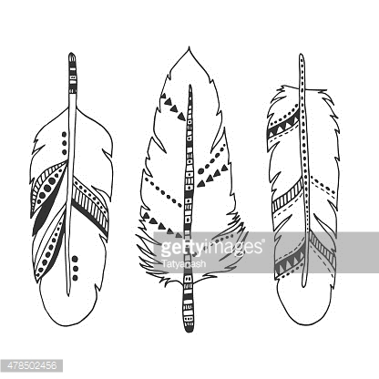 Handdrawn set of feathers isolated on white