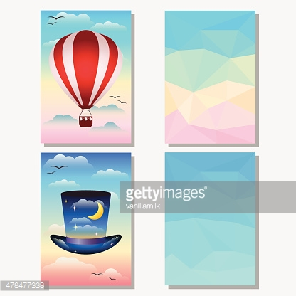 Bright set with hat, hotair balloon and abstract polygonal background