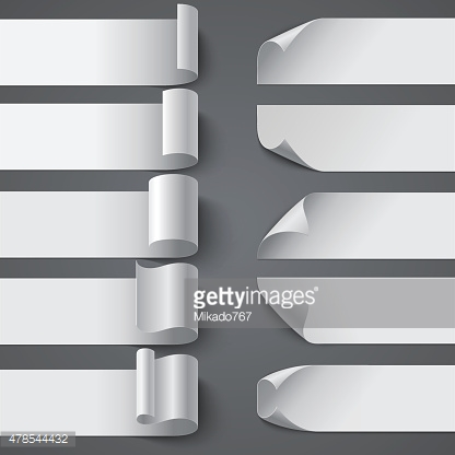 Set of curled blank paper banners with shadows on gray