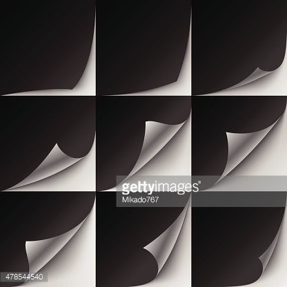Set of 9 black paper curled corners with realistic shadows