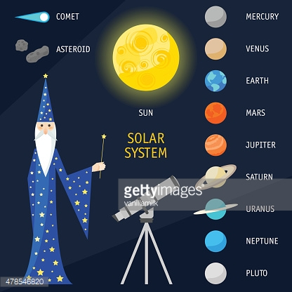 Solar System objects. Bright funny cartoon illustration with magician astrologer