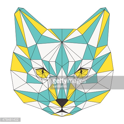 Abstract cat isolated on white background. polygonal triangle geometric illustration