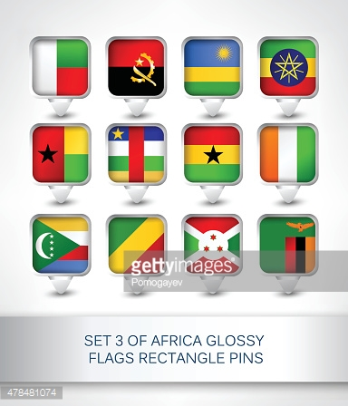 Set 3 of Africa glossy flags rectangle pins