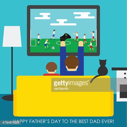 Father's Day greeting card. Dad and son playing in soccer