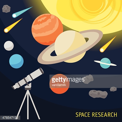 illustration with cartoon space objects and telescope isolated on dark
