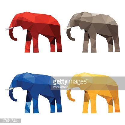 Elephant set painted in imaginary colors isolated on white background