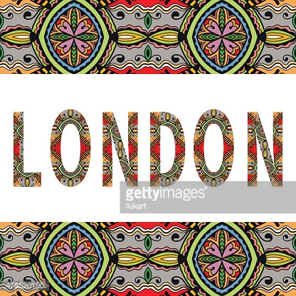 London sign with tribal ethnic ornament. Decorative floral frame border