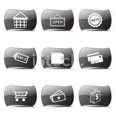 Shopping Sign Black Vector Button Icon Design Set 2