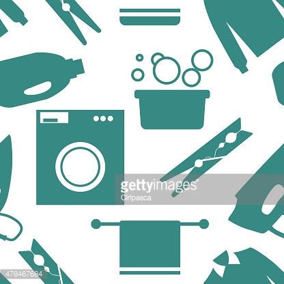 Seamless pattern of Laundry and Washing Icons. Vector illustration.  Flat