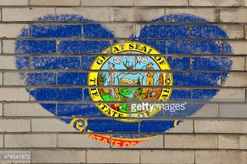heart shape flag of idaho on brick wall
