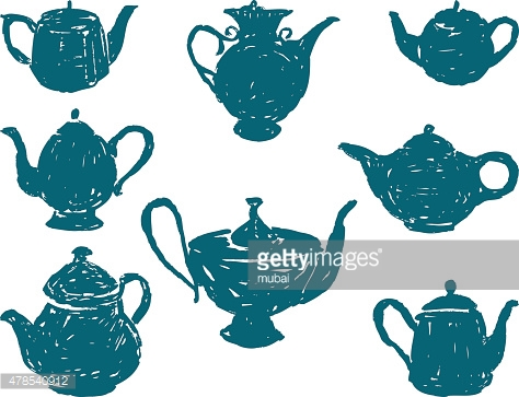 silhouettes of the teapots