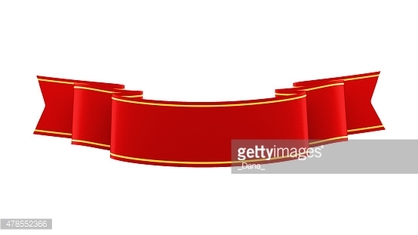 3D illustration of shiny red ribbon with gold strips