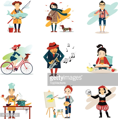Active Lifestyle, Hobbies, Healthy Lifestyle Icons Set