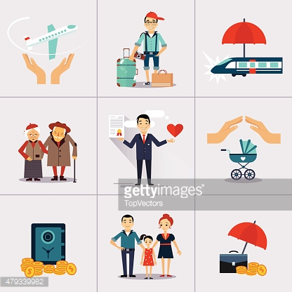 Insurance Character and Icons Template. Vector illustration