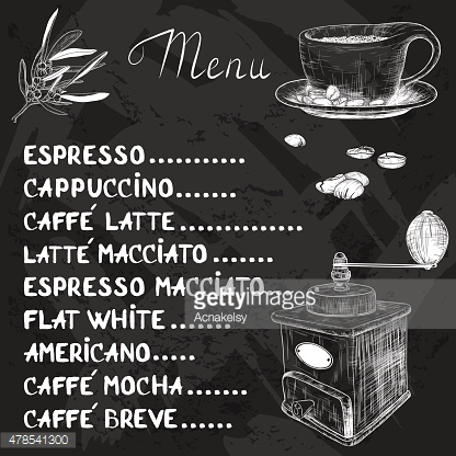 Vector coffee menu with a cup of coffee and coffee grinder