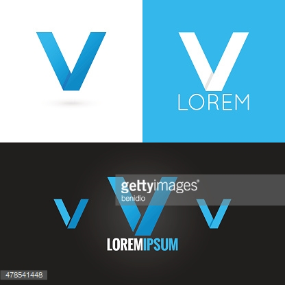 letter V logo design icon set background