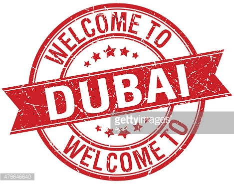 welcome to Dubai red round ribbon stamp