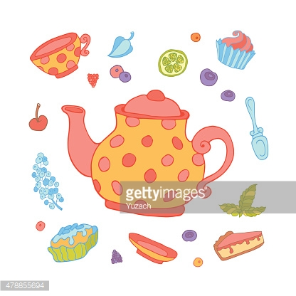 Set of party objects for tea time