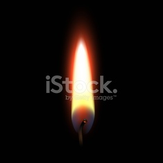 Fire Flame Isolated on Black Background. Realistic Vector Illustration