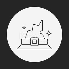 halloween witch hat line icon