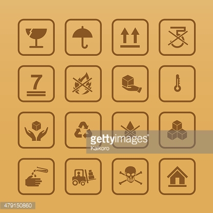 Set of packing symbols icon for box on cardboard color