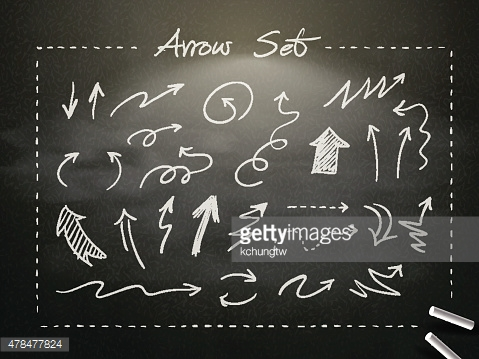 hand drawn chalk arrows collection