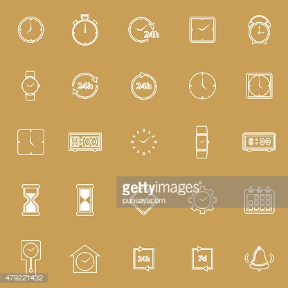 Time line icons on brown background