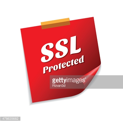 SSL Protected  Red Sticky Notes Vector Icon Design