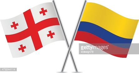 Georgia and Colombia flags. Vector.