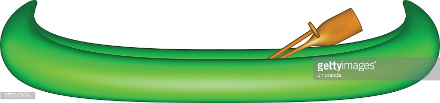 Canoe in green design with wooden paddles
