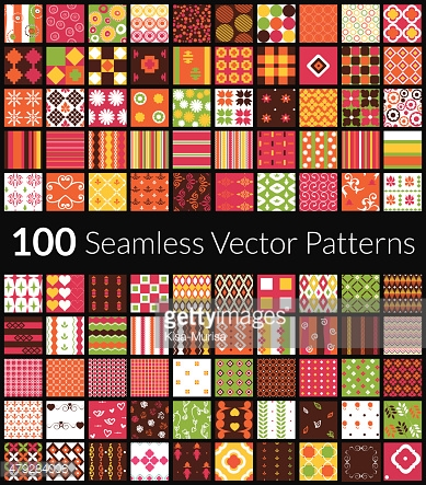 Set of 100 different vector seamless patterns with swatch.