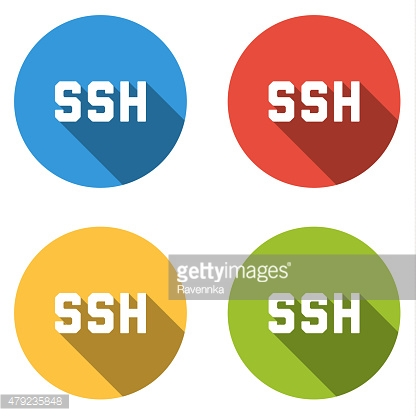 Collection of 4 isolated flat colorful buttons for SSH