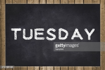 tuesday - white text on chalkboard