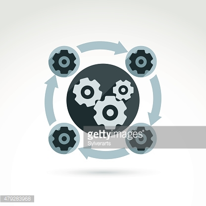 Vector illustration of an organization system, production concept