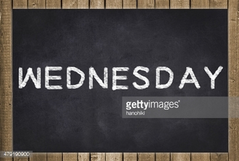 wednesday - white text on chalkboard