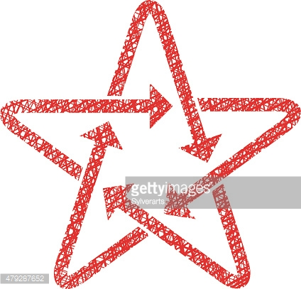 Star icon with arrows with hand drawn lines texture.