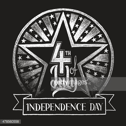 4th of July Independence day. Chalk lettering
