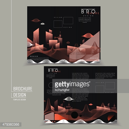 futuristic tri-fold brochure with abstract city scenery