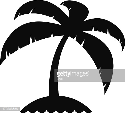 Vacation icon of a palm tree on an island
