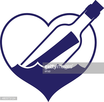Heart-shaped message in a bottle icon