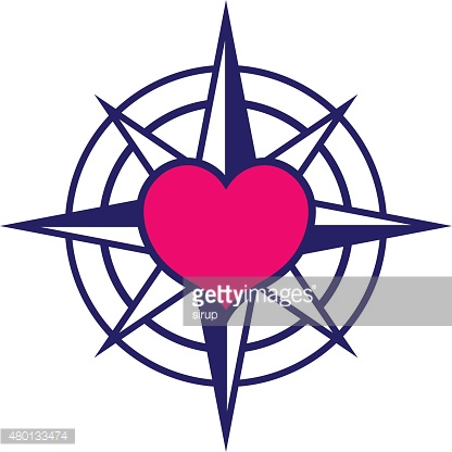 Starred compass with heart icon