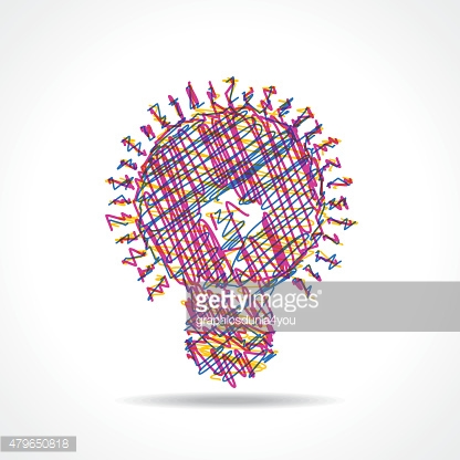 Sketched colorful bulb design stock vector