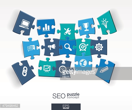 Abstract SEO background with connected color puzzles, integrated flat icons